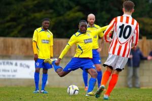 09/04/2016.Ashford Town v Guildford City FC. City's Darren CAESAR