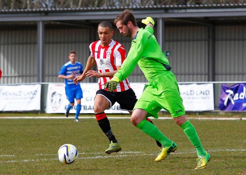 02/04/2016. Guildford City FC v Epsom & Ewell FC.  City's Matt ANTON