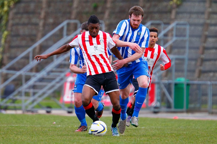 23/04/2016. Guildford City v Camberley Town. City's Romaric LOGON