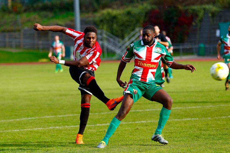 08/10/2016. Guildford City FC v Windsor FC. Marcel HENRY-FRANCIS shoots