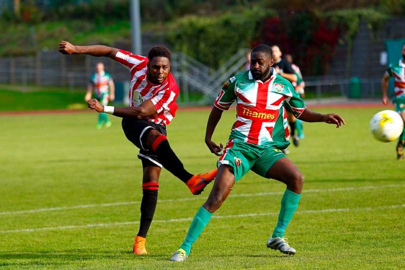 08/10/2016. Guildford City FC v Windsor FC. Marcel HENRY-FRANCIS shoots