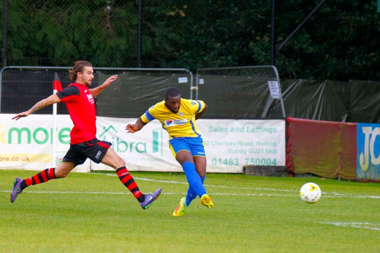 01/10/2016. Knaphill v Guildford City FC. City's Ibby AKANBI scores